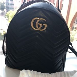 Marmont Gg Quilted Black Leather Backpack